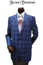 ヒッキーフリーマン メンズオーダージャケット 春夏物 ロロピアーナ素材 シルク カシミヤ ブルー ウィンドペンチェック サイズオーダー