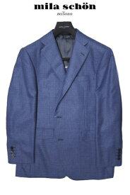ミラショーン メンズジャケット ブルー チェック ロロピアーナ素材 サマーカシミヤ シルク 春夏物 A7 AB4 AB5 AB6 AB7 BB3 BB4 BB5 BB6 BB8