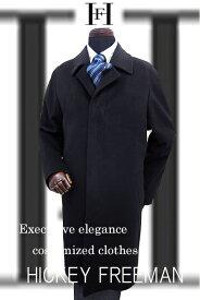 ヒッキーフリーマンオーダー コート カシミヤ100% 秋冬物 バルカラー ラグラン ミドル丈 ブラック