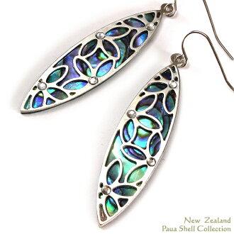 ニュージーランドパウアシェルピアスアバロンシェルアクセサリーフラワーモチーフラインストーン watermarks モチーフビーチリゾートアクセ