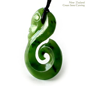 Green stone carving pendant nature stone New Zealand Maori carving casual natural material choker lucky charm Sea length adjustment