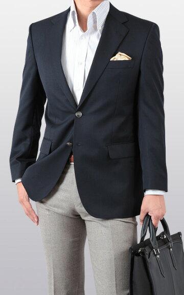 秋冬・紺ブレザー/シングル2ツボタン/メンズジャケット(紺ブレザー・総裏仕立て)/送料無料