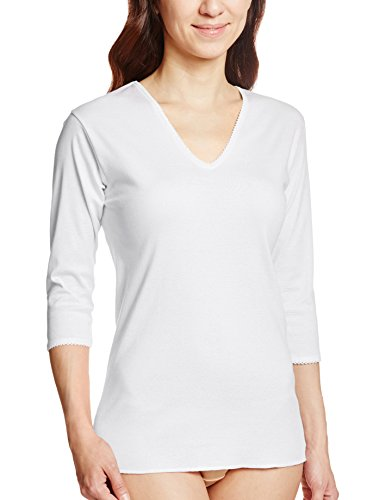 GUNZE 快適工房 婦人V型七分袖スリーマー 綿100% 白 M