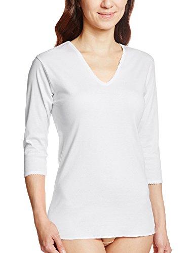 GUNZE 快適工房 婦人V型七分袖スリーマー 綿100% 白 L
