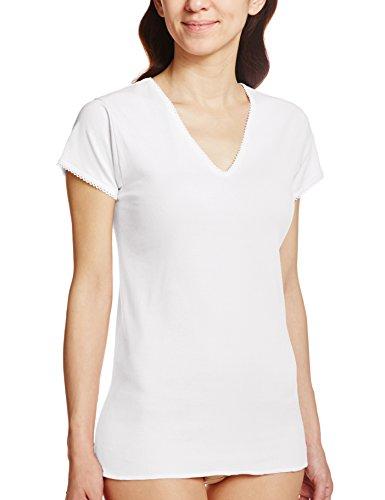 GUNZE 快適工房 婦人V型三分袖スリーマー 綿100% 白 L
