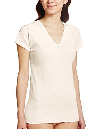 GUNZE 快適工房 婦人V型三分袖スリーマー 綿100% ベージュ M