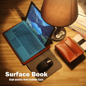 Surface Book ケース/カバー レザー ポーチ カバン型 電源&ケーブルポーチ付き サーフェス ブック用 バック型 レザーケース/カバー おすすめ おしゃれ スマホケース/カバー