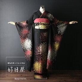 振袖 レンタル フルセット 正絹 着物 【レンタル】 結婚式 成人式 身長161-176cm 黒 bk-039