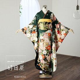 振袖 レンタル フルセット 正絹 着物 結婚式 成人式 身長155-170cm 緑 gr-011