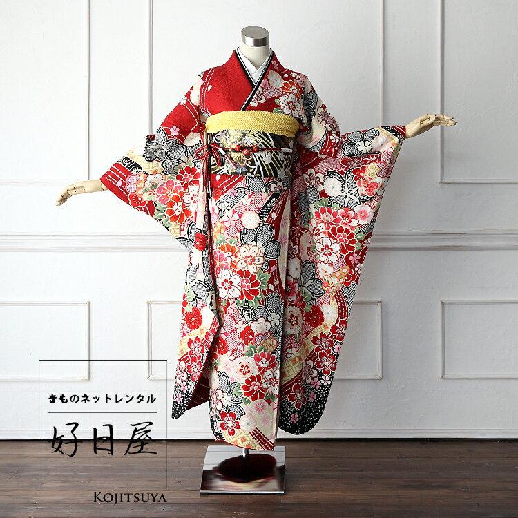 【レンタル】 振袖 フルセット 正絹 身長161-176cm 赤 re-002