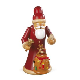 MUELLER 煙出し人形 22cm プレゼントの袋を持ったサンタ クロース クリスマス ドイツ ザイフェン SMOKING MAN SANTA GIVING OUT CHRISTMAS PRESENTS クリスマス雑貨 木製ラッキー 贈り物 装飾 16788