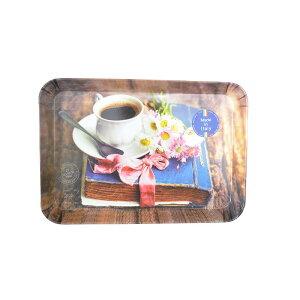 イタリア製 NUOVA R2S おしゃれなアート トレー(小)カフェ コーヒー ブラウン おぼん 15cm×21cm カフェ トレイ ユリア/メラミン樹脂製 art332-nost
