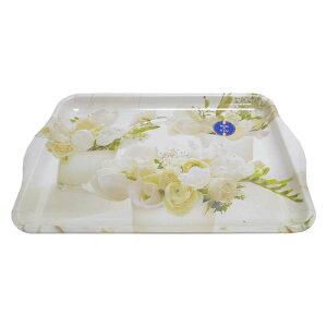 イタリア製 NUOVA R2S おしゃれなブリリアントトレー(中)ホワイトローズ 花柄 おぼん 22cm×33cm カフェ トレイ ユリア/メラミン樹脂製 art-m-wtf