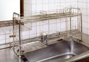 【送料無料!】キチンとキッチン収納ラック オプション付 KS-2713おっくうな食器洗いは手際よく済ませたい。洗ったら、そのまま収納ラックで水切り。
