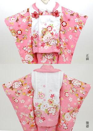 七五三着物3歳被布着物9点フルセット(ファーショール付)ピンク地に牡丹と鞠(被布:白地にピンクぼかし)