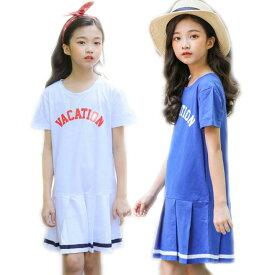 子供服 半袖 ワンピース 韓国子供服 運動 ワンピース ボーダー フリル ワンピース 可愛い カジュアルワンピ 韓国