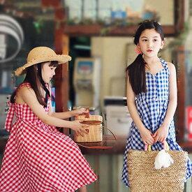 韓国子供服 綿 キャミワンピ 春夏 女の子 キッズ用 ジュニア ロングワンピース マキシ丈 子供ワンピース 女の子 ◇オフショルダーワンピース