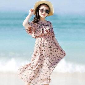 親子服 キッズ ワンピース 韓国子供服 女の子 ワンピ キッズ ワンピース シフォン 花柄 韓国 子ども服 春 夏 オフショルダーワンピース