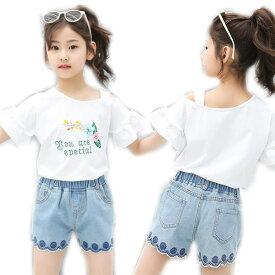 子供服 セットアップ キッズ 韓国子供服 女の子 上下セット 2点セット トップス 半袖T パンツ デニム 春夏 通学着 通園着