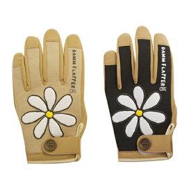 11周年記念セール レディース バイク グローブ DAMMFLAPPER フラワーグローブ おしゃれ 可愛い 花柄 ベージュ ブラック 女性用