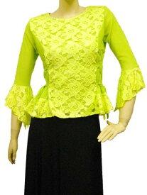 コーラス衣装 コーラスブラウス 総レース脇スピンドル使いカットブラウス 裏地付き 黄緑