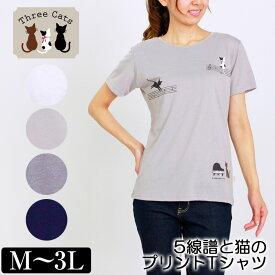 Tシャツ 半袖 Three Cats(スリーキャット) 5線譜と猫のプリントTシャツ レディース キャラクタープリント M L LL 3L オフ ベージュ ネイビー グレー 夏 「201830W」