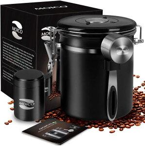 MOICO コーヒー キャニスター (ブラック・16オンス+0.65オンス)約470ml+19ml 持ち運びに便利なミニキャニスター付き CO2を排出する脱ガスバルブ 日付セット コーヒー豆、お茶、小麦粉、砂糖な
