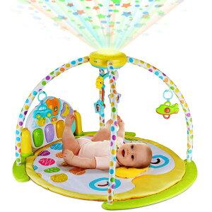 ベビープレイマット 約96.5cm×61cm星のホームシアター♪プレイマット プレイジム ベビートイ キックピアノ&プロジェクター&ベッドメリー 写真入れ 音楽 ライトアップ 新生児 幼児 赤ちゃん