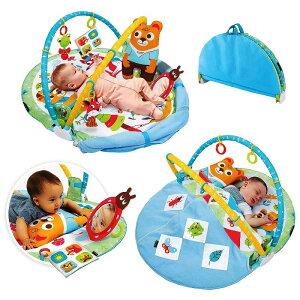 3-in-1 ベビー プレイマットプレイジム♪5つのおもちゃ 折りたたみ式 毛布付き クッション 枕 ベビートイ 洗濯機で洗える 012ヶ月音楽 新生児 幼児 赤ちゃん 男の子 女の子 ベビー 海外 おしゃ