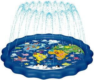 MAGIFIREキッズ噴水(世界地図)約173cmキッズ&ベビープール用スプリンクラー 楽しい 水遊び スプラッシュ プレイマット マップ 家族 アウトドア 庭遊び ウェーディングプール 1〜10歳 男の子