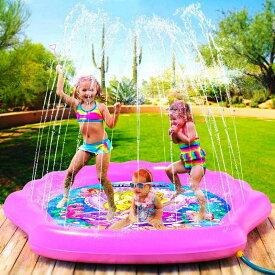 PRINCESSEAキッズ噴水(マーメイド・シェル)王冠カチューシャ&魔法の杖付き♪約178cm ベビープール スプリンクラー 楽しい 水遊び プレイマット マップ 家族 アウトドア 庭遊び プリンセス 1歳以上 男の子 女の子 夏 海 涼しい 誕生日 教育 ピンク クラウン 貝 屋外用
