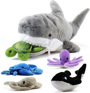 Prextexサメのぬいぐるみ(約38cmのサメと5つの小さな海の生き物)タコ カニ エイ シャチ やわらかい 抱っこ キッズ用おもちゃ 女の子 男の子 子ども 子ども かっこいい かわいい 収納 誕生日 ク
