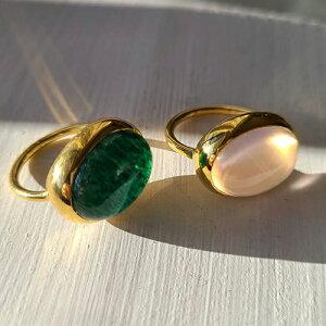 Bonbon 天然石 リング 指輪 インドジュエリー カジュアルリング パワーストーン 誕生日 大人かわいい 一粒リング 天然石リングムーンストーン サンストーン ピンクカルセドニー シルバージ