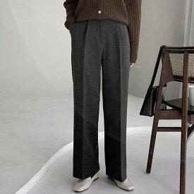 [韓国 ファッション セットアップ][パンツ レディース][レディース][ワイドパンツ][レディースパンツ 動きやすい][韓国 ファッション sheil][Made Laurenhi][小柄/長身]感覚ウィンターボカシ起毛スラックスパンツ(ver.ワンピンタックワイド) - 3 color