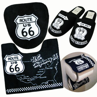 66 号公路美国马桶垫 & 盖 & 纸封面 & 拖鞋 4 集复古车库美国货物马桶垫轮胎盖马桶垫集美国小玩意美国小玩意马桶垫