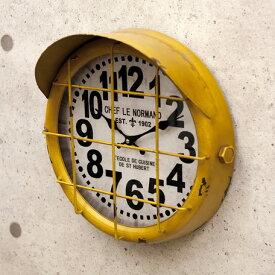 アンティーク クロック サブマリン イエロー(潜水艦)レトロ調 ビンテージ クロック 壁掛け時計 時計 アメ雑貨 男前 西海岸風 インテリア アメリカン雑貨