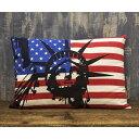 アメリカン クッション まくら 枕 自由の女神&星条旗 USA アメリカ国旗 フラッグ おしゃれクッション ガレージ アメ…