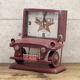アメリカン レトロクロック ( トラック レッド ) 置き時計 ビンテージクロック 西海岸風 インテリア アメリカン雑貨