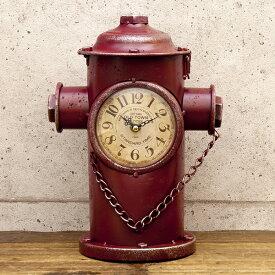 アメリカン レトロクロック ( 消火栓 レッド ) 置き時計 ビンテージクロック 西海岸風 インテリア アメリカン雑貨