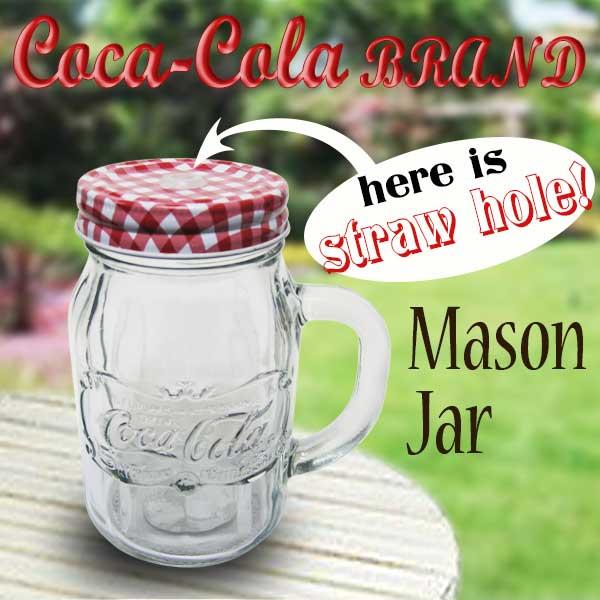 コカ・コーラ(Coca-Cola)メイソンジャー(取手付き)ストロー付き 21オンス レギュラーマウス(クリアー)カントリー ガラス 保存ビン お菓子入れ サラダ アメリカ雑貨 メイソンジャー 西海岸風 インテリア アメリカン雑貨