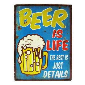 アメリカン ブリキ看板 BEER IS LIFE(ビール)エンボス(凸凹) ティンサインボード メタルサインボード 看板 アメリカ雑貨 ガレージ 西海岸風 インテリア アメリカン雑貨