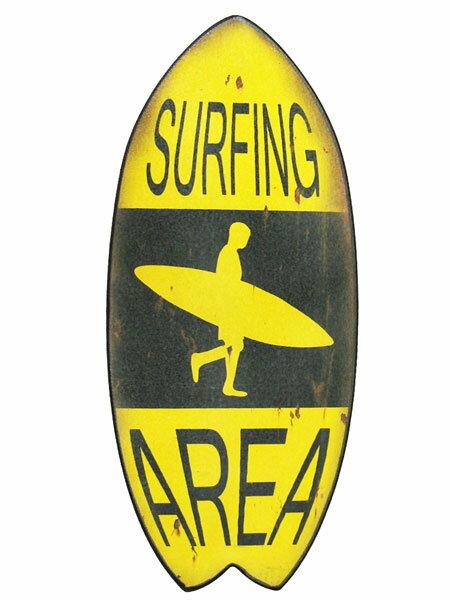 ミニサーフボード ウッドプラーク サーフィンエリア「SURFING AREA AZ16001」アロハ・マウイ ハワイ ハワイアン雑貨 サーフ 西海岸風 インテリア アメリカン雑貨