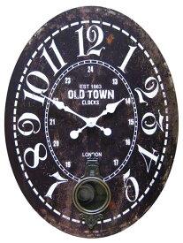 58cmのビッグサイズ時計 振り子時計 ウォールクロック オールドタウン BK(HT 1J-061)大きい時計 アンティーク ビンテージデザイン 壁掛け時計 時計 アメリカ雑貨 ビンテージ 西海岸風 インテリア アメリカン雑貨