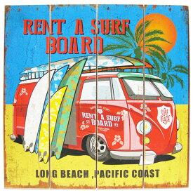 【ハワイアン ウッド サインボード ワーゲンバス&サーフボード】LONG BEACH WB16001 サーフィン メッセージ看板 木製看板 案内看板 アメリカ看板 看板 ガレージ ハワイアン雑貨 サーフ 西海岸風 インテリア アメリカン雑貨