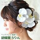 ヘッドドレス 花 ウェディング 胡蝶蘭 5輪 | ウエディング 髪飾り 造花 成人式 結婚式 和装 ブライダル ヘアアクセ ヘ…