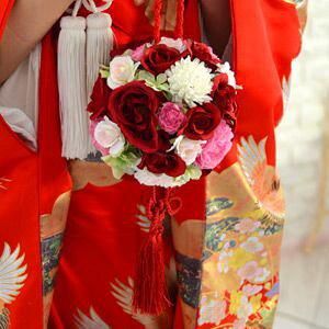 和装用ブーケ 紅玉 こうぎょく | ボールブーケ ボール ブーケ 赤 紅 和 和風 和装 和装用 着物 白無垢 色打掛 和婚 結婚式 花嫁 ウェディングブーケ ウエディングブーケ ブライダルブーケ ウ