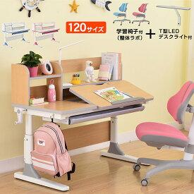 学習机 勉強机 NEWヒーロー120(学習椅子整体ラボ+T型デスクライト付き)-LIA 幅120cm シンプル 角度調整 高さ調整 姿勢 背筋 上棚 120