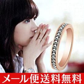 リング 指輪 スワロフスキー 水晶 天然石 K18 18金GP 18K 3color メール便送料無料