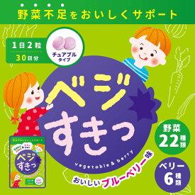 野菜サプリメント こども キッズ 子供 サプリメント 国産野菜 食物繊維 ビタミン 葉酸 ブルーベリー 日本製 チュアブル ベジすき