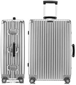 スーツケース アルミフレーム 軽量 キャリーケース 耐衝撃 キャリーケース 機内持込 キャリーバッグ 人気 大型 TSAロック付 静音 旅行出張 ヘアライン仕上げ 1年保証-lnm-1608-20